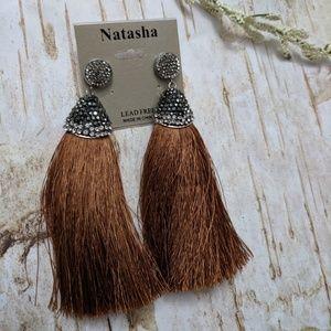 Natasha Tassel Earrings Lead Free Jewel Brown